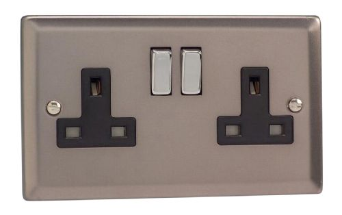 Varilight XR5DB Classic Pewter 2 Gang Double 13A Switched Plug Socket